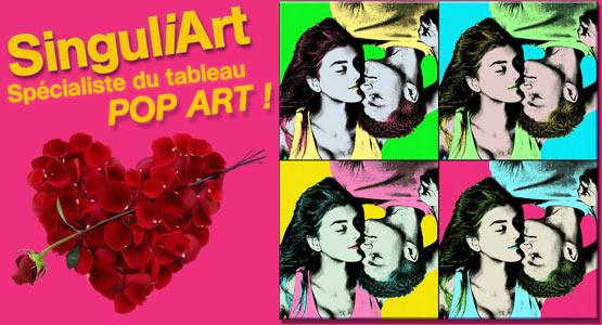 Décoration avec tableau pop art personalisable et roses pour la saint valentin