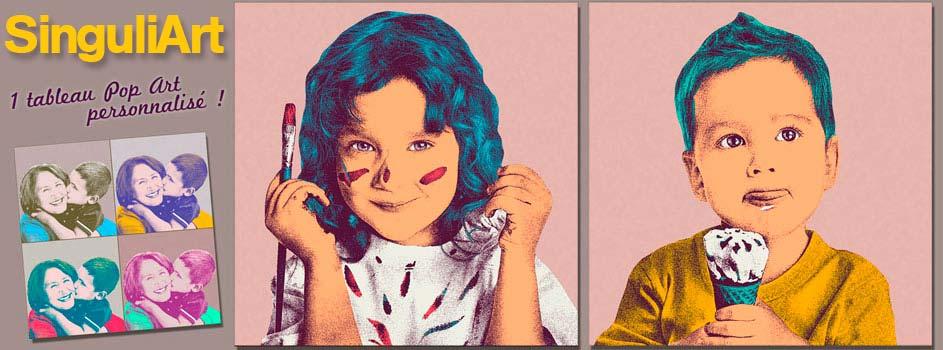Tableau Pop Art personnalisé d'après photos rigolotes d'enfants !